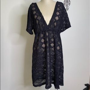 Dotti Hooded Sheer Lace Black Cover-Up Sz M